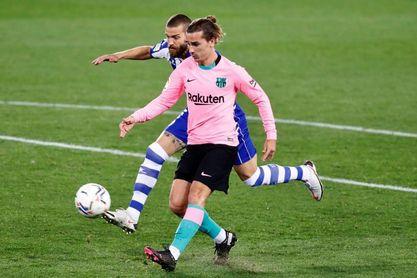 1-1. Griezmann enmienda el error de Neto, pero el Barça no puede con diez