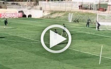 Munir marcó un auténtico golazo en el entrenamiento.