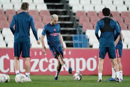Imagen del entrenamiento del Sevilla FC de este jueves.