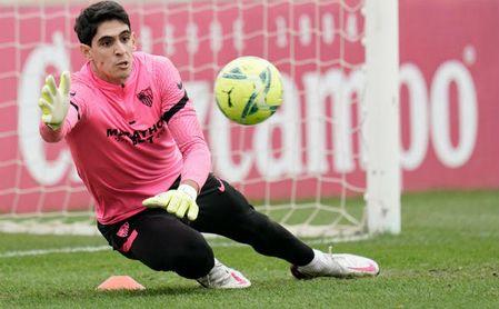 Imagen del entrenamiento del Sevilla de este lunes.