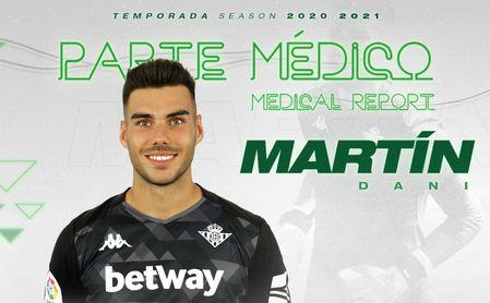 El portero del Betis Dani Martín, operado del ligamento cruzado anterior de rodilla derecha