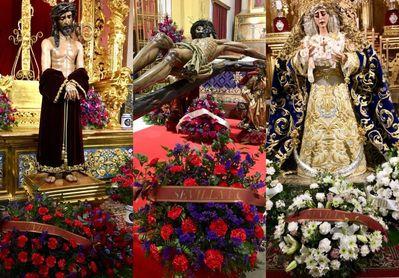 Ofrenda floral del Sevilla a sus vecinos de San Benito.