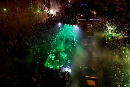 Sporting of Lisbon fans celebrate winning the Championship