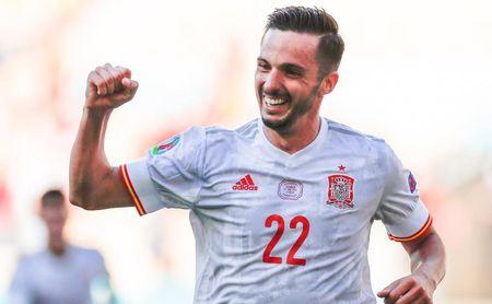 Sarabia, tras marcar con España.