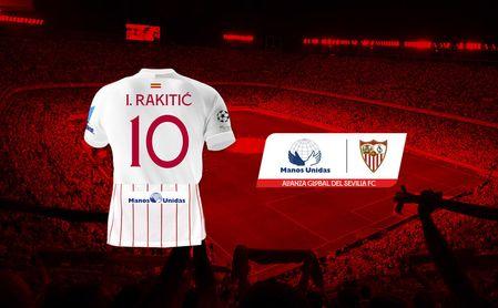 El Sevilla lucirá el logo de Manos Unidas en su camiseta.