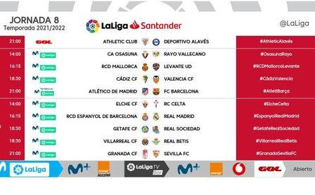 Horario y día para los partidos de Sevilla FC y Real Betis en la jornada 8 de LaLiga