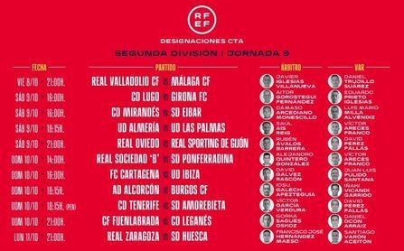 Málaga y Almería ya conocen a sus árbitros ante el Valladolid y Las Palmas.