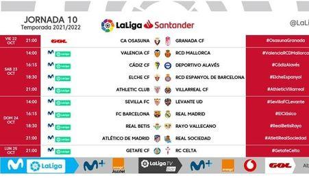 Los horarios de la jornada 11 de LaLiga... y un cambio en la 10 que afecta al Sevilla